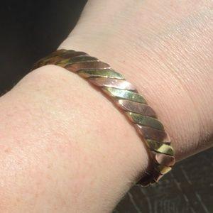 Solid Brass Copper Cuff Bracelet Rustic Arthritis